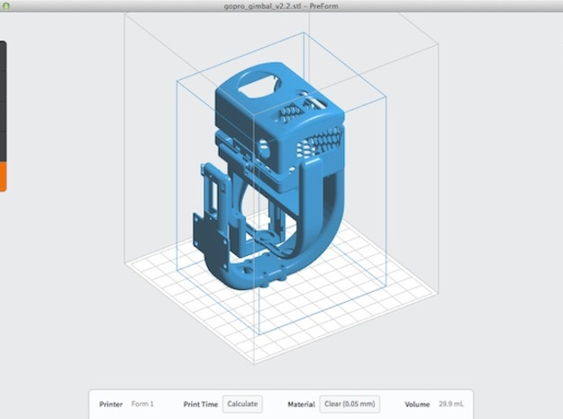 3-Axis gimbal (pan tilt roll) for GoPro camera 3d printed PreForm preview of this model