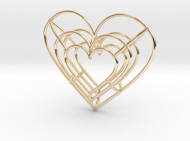 Medium Wireframe Heart Pendant in 14k Gold Plated Brass
