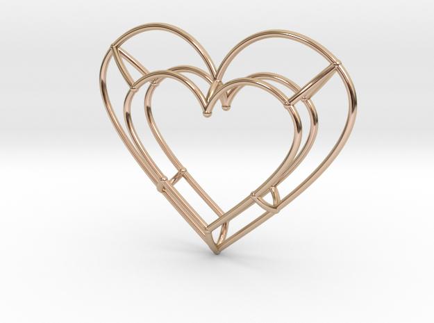Medium Open Heart Pendant in 14k Rose Gold