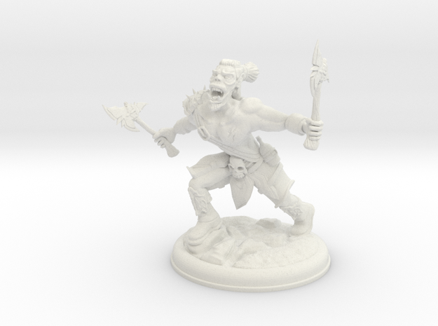 Orc with two Axes on 28mm Base in White Natural Versatile Plastic