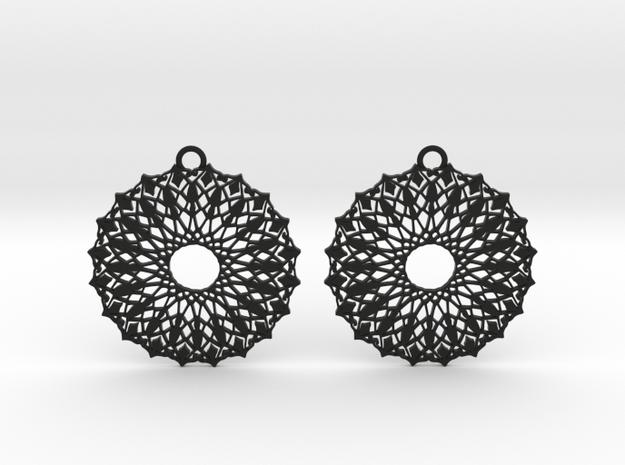 Ornamental earrings no.6 in Black Natural Versatile Plastic