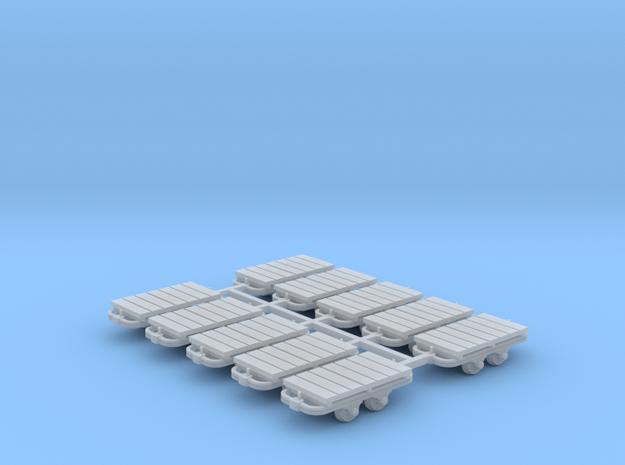 Flachwagenlore 10erSet - TTf 1:120 in Smooth Fine Detail Plastic