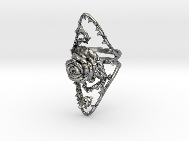 Dangerous - Silver Rose Ring in Antique Silver: 7 / 54