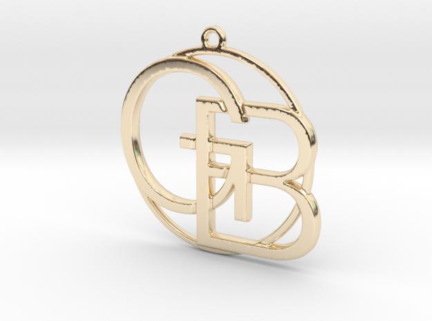 G&B Monogram Pendant in 14k Gold Plated Brass