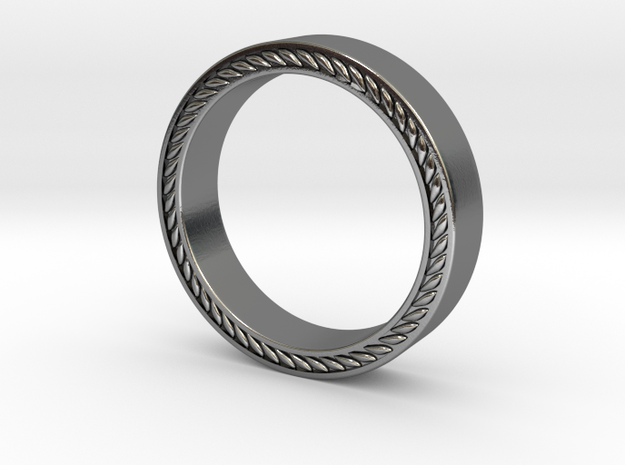 Leaf Patterned Edge Wedding Band  in Polished Silver