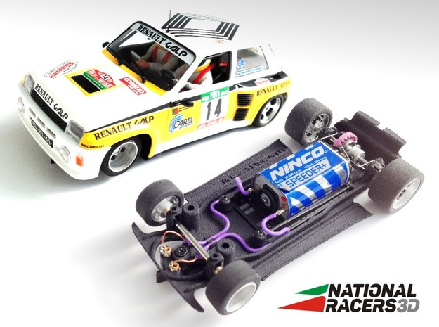 3D chassis - Fly Renault 5 Turbo (Inline) in Black Natural Versatile Plastic