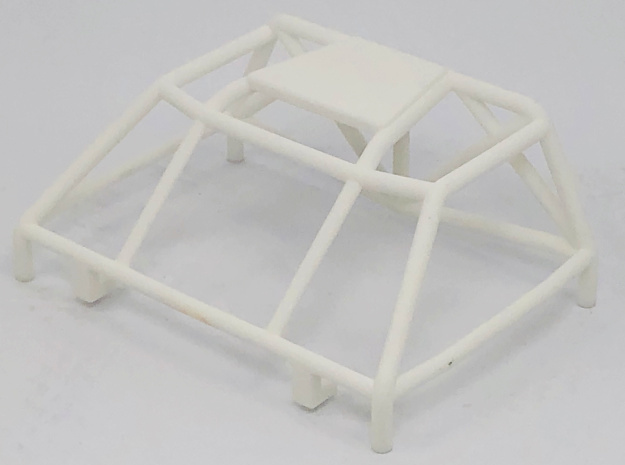 Bolt On Monster Truck Style Roll Cage in White Natural Versatile Plastic: 1:10