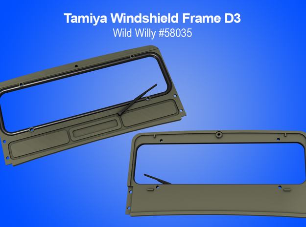 Tamiya RC Windshield Frame for Wild Willy in White Natural Versatile Plastic