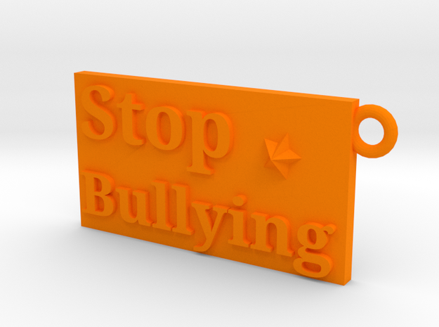 Stop Bullying Keychain in Orange Processed Versatile Plastic