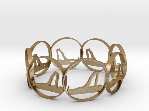 7 ring in Polished Gold Steel