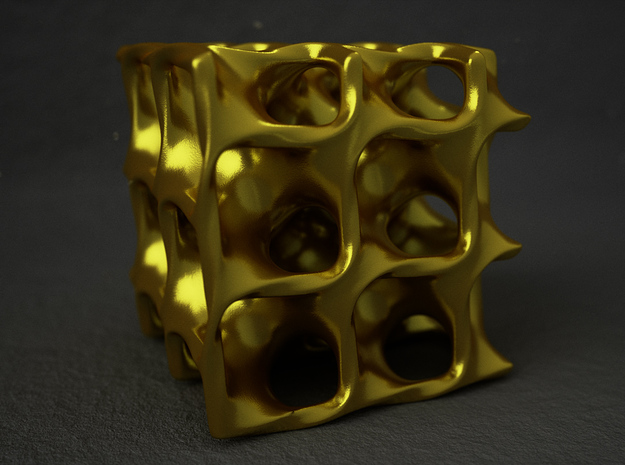 Minimal Surface Cube in Polished Gold Steel