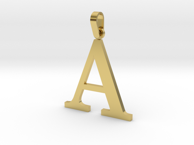 A Letter Pendant in Polished Brass (Interlocking Parts)