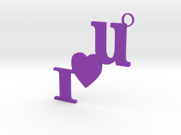 I Love U Keychain in Purple Processed Versatile Plastic