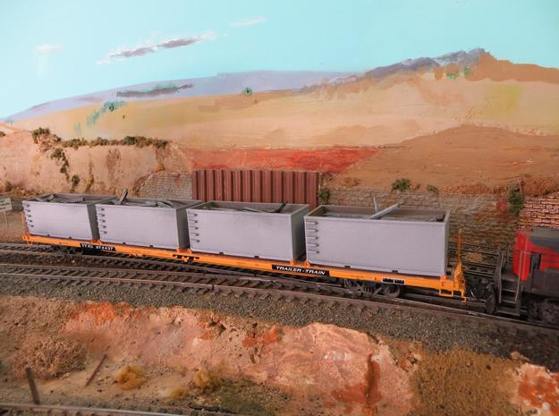 N scale 1/160 Tie or Dirt Railroad Container (sing in Smooth Fine Detail Plastic