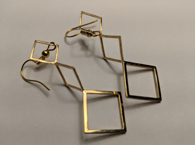 Square Earrings in Polished Brass