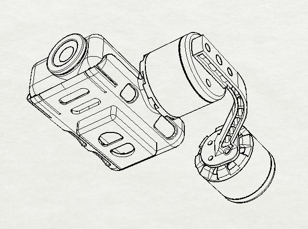 UAVMaker Mobius Brushless Gimbal Roll Arm in White Strong & Flexible