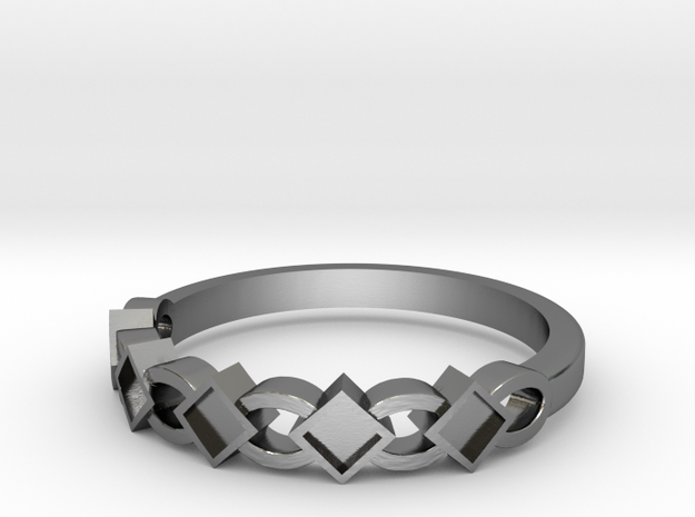 Square and Oval Band in Polished Silver
