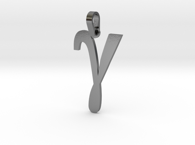Gamma Sign Pendant V2 Small in Polished Silver (Interlocking Parts)