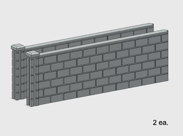 5' Block Wall - 2-Long L/S Jointed Intersections in White Natural Versatile Plastic: 1:87 - HO