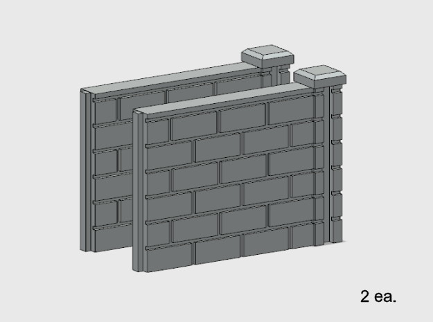 5' Block Wall - 2-Short R/S Jointed Intersections in White Natural Versatile Plastic: 1:87 - HO