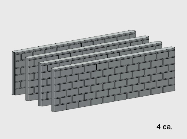 5' Block Wall - 2-Long Jointed Splices in White Natural Versatile Plastic: 1:87 - HO