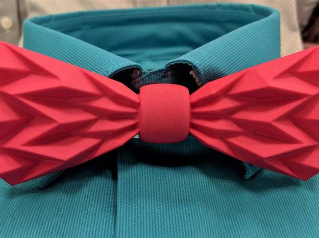 The Fold Bow Tie in Pink Processed Versatile Plastic