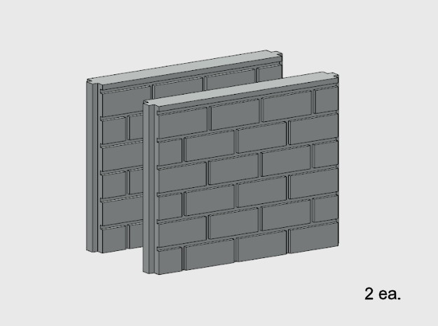 5' Block Wall - 2-Short Jointed Splices in White Natural Versatile Plastic: 1:87 - HO