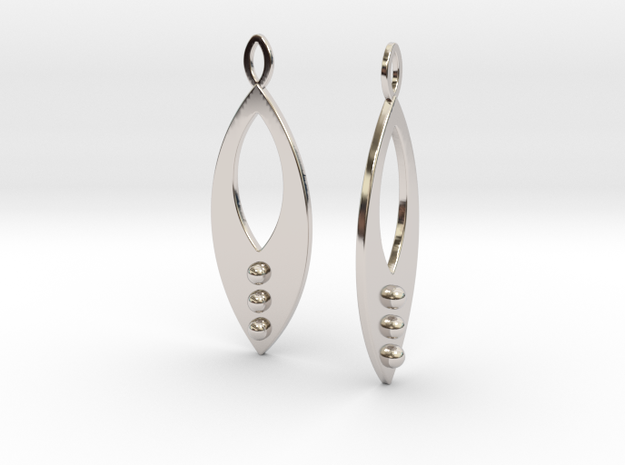 Mandorla Warrior Earrings in Rhodium Plated Brass