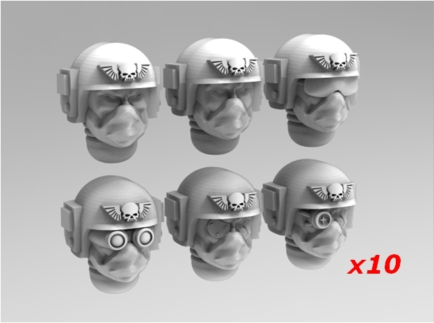 Imperial Soldier Heads Set 6 10x Mix in Smoothest Fine Detail Plastic
