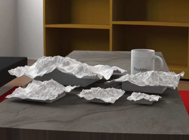 "12''/30cm Mt. Blanc, France/Italy 3d printed Radiance rendering of all available sizes: 3"", 4"", 6"", 8"", 12""."