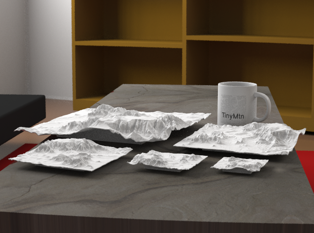 """12'' Sedona Terrain Model, Arizona, USA 3d printed Radiance rendering of all available sizes: 3"""", 4"""", 6"""", 8"""", 12""""."""
