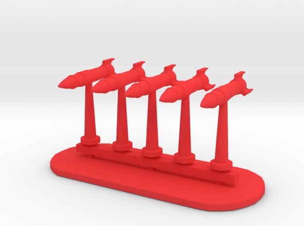 Rockets Sprue - Variant 5 in Red Processed Versatile Plastic