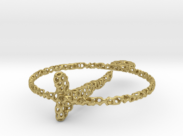 voronoi yoga earring pendant in Natural Brass