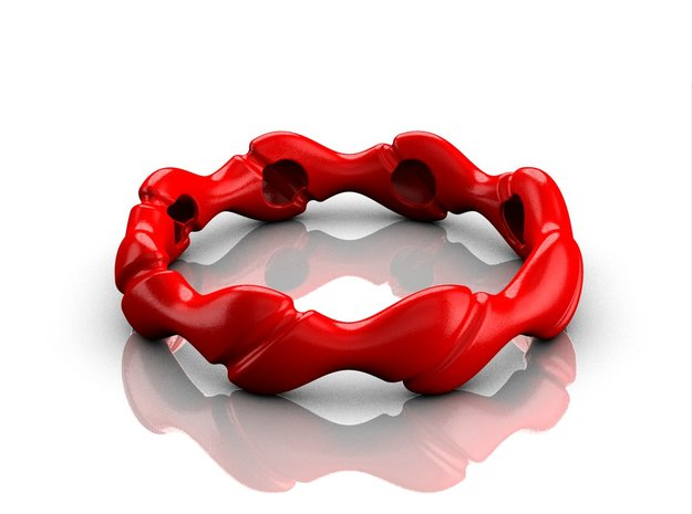 Wave bracelet 70 in Red Processed Versatile Plastic
