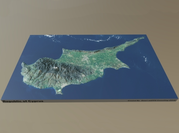 "Cyprus Raised Relief Map: 8.5""x13.5"" in Matte Full Color Sandstone"