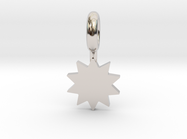 P O W E R Star Pendant in Rhodium Plated Brass