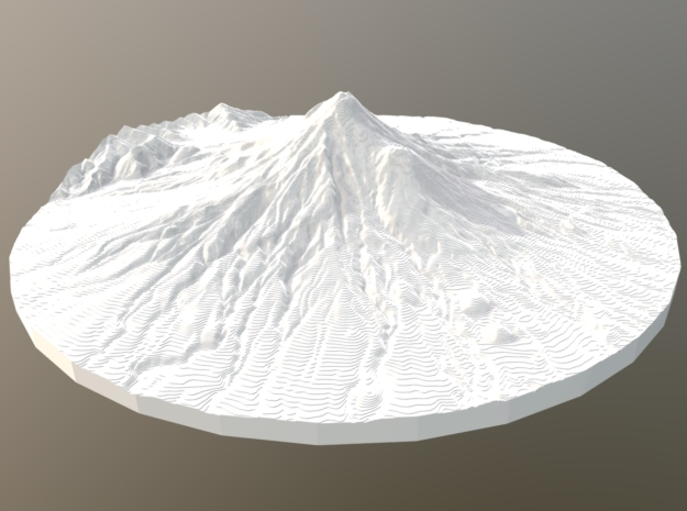 Mount Taranaki Map - Contours (10 Meter) - Small in White Natural Versatile Plastic
