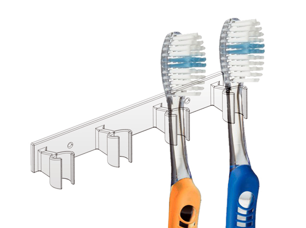 Tooth Brush Holder in White Strong & Flexible