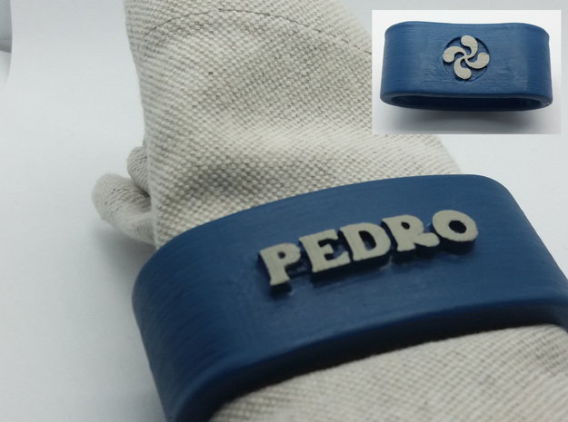 PEDRO 3D Napkin Ring with lauburu in White Natural Versatile Plastic