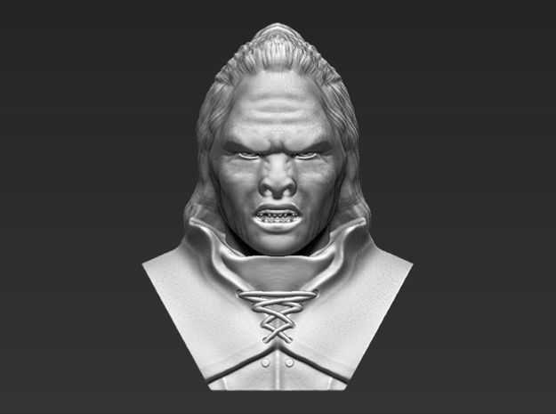 Lurtz Uruk-Hai from the Lord of the Rings bust in White Natural Versatile Plastic