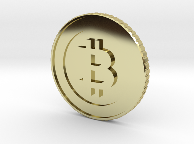 Bitcoin Coin Lapel Pin in 18k Gold Plated Brass