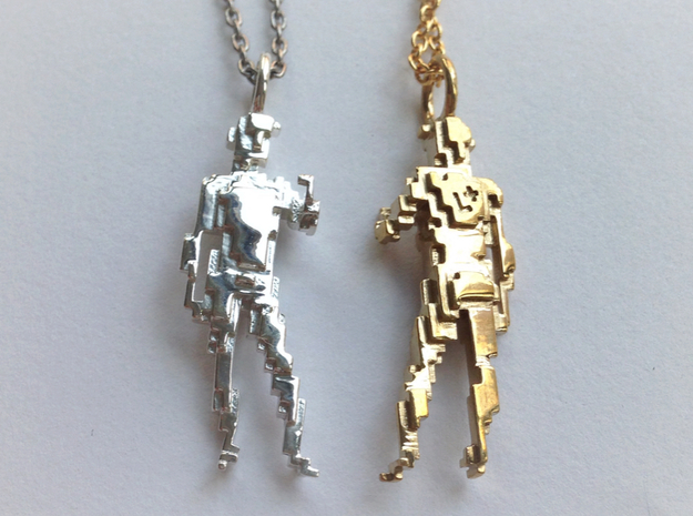 Digital David Pendant 3d printed Premium Silver and Polished Brass