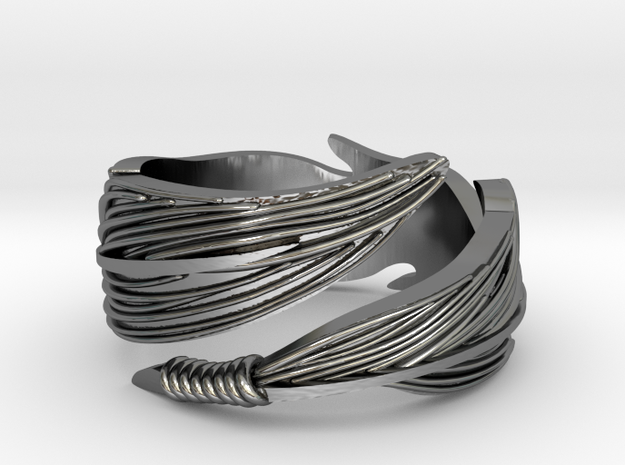 Adjustable Feather Ring in Fine Detail Polished Silver