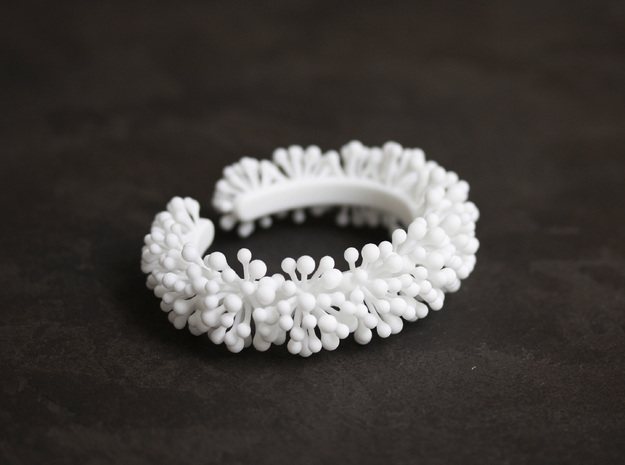 Snow Blossom Bracelet in White Natural Versatile Plastic