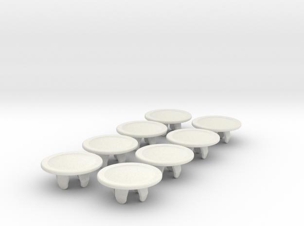 bolt_cap_6mm_big_x8 in White Natural Versatile Plastic