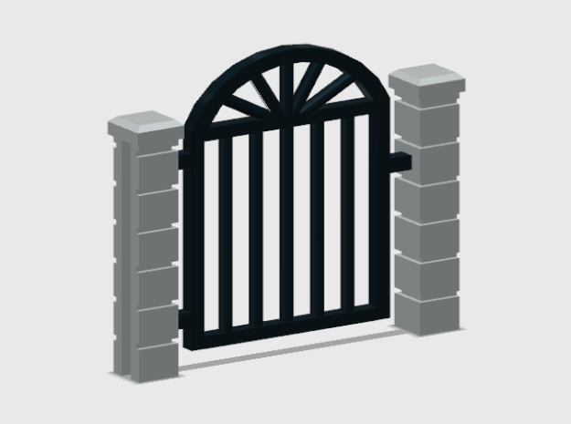 Block Wall - Rod Iron Man Gate-2 in White Natural Versatile Plastic: 1:87 - HO