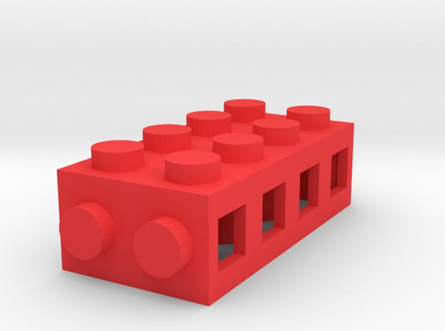 Custom LEGO-Inspired brick 4x2 in Red Processed Versatile Plastic