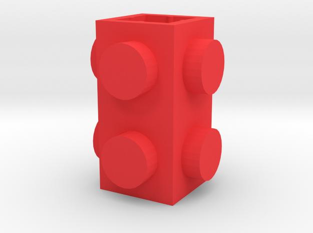 Custom brick 1x1x2 for LEGO in Red Processed Versatile Plastic