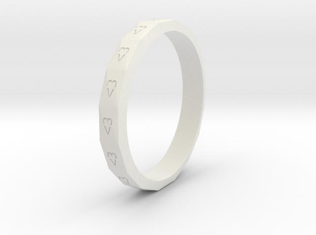 Digital Heart Ring 3 in White Natural Versatile Plastic