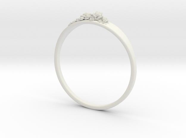 Succulent Ring in White Natural Versatile Plastic